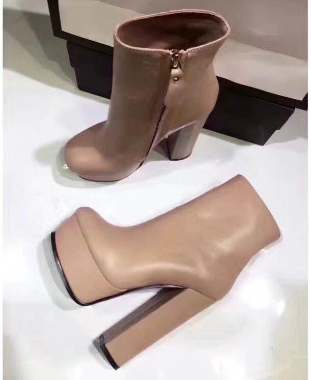 Ladies high-end original item imoirt cowskin vamp sheepskin inside genuine leather tread heel high 4cm high 14cm designer shoes