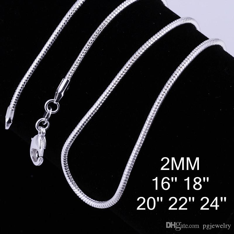 925 Colar De Prata Esterlina 2mm Cadeia Cobra cadeia Clavicular DIY Acessórios de Moda Jóias fazendo para mulheres presente frete grátis LKNSPCC010
