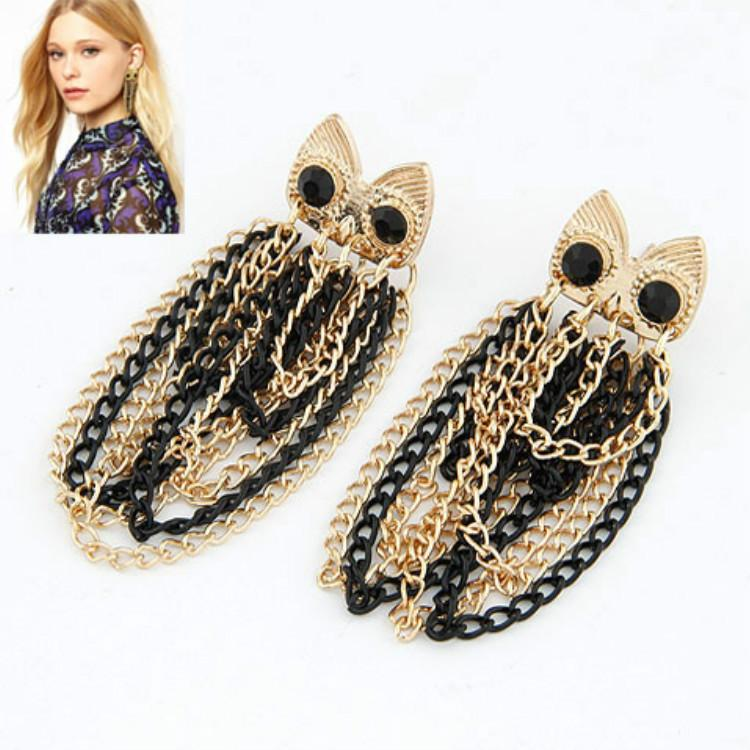 Alloy Second Diamond Luxurious Owl Tassels Temperament Ear Nail Earrings Earring Ornaments