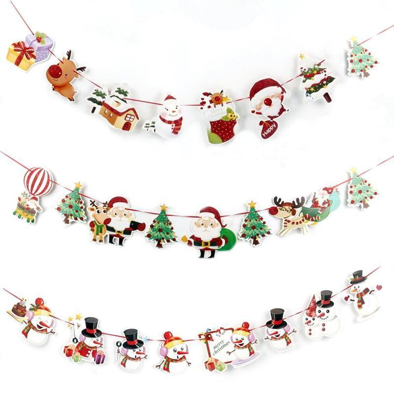 Christmas Decoration Banner Flag New Year Party Decoration Santa Snowman Parachute Flags Garlands Christmas Decorations for Home Y18102609