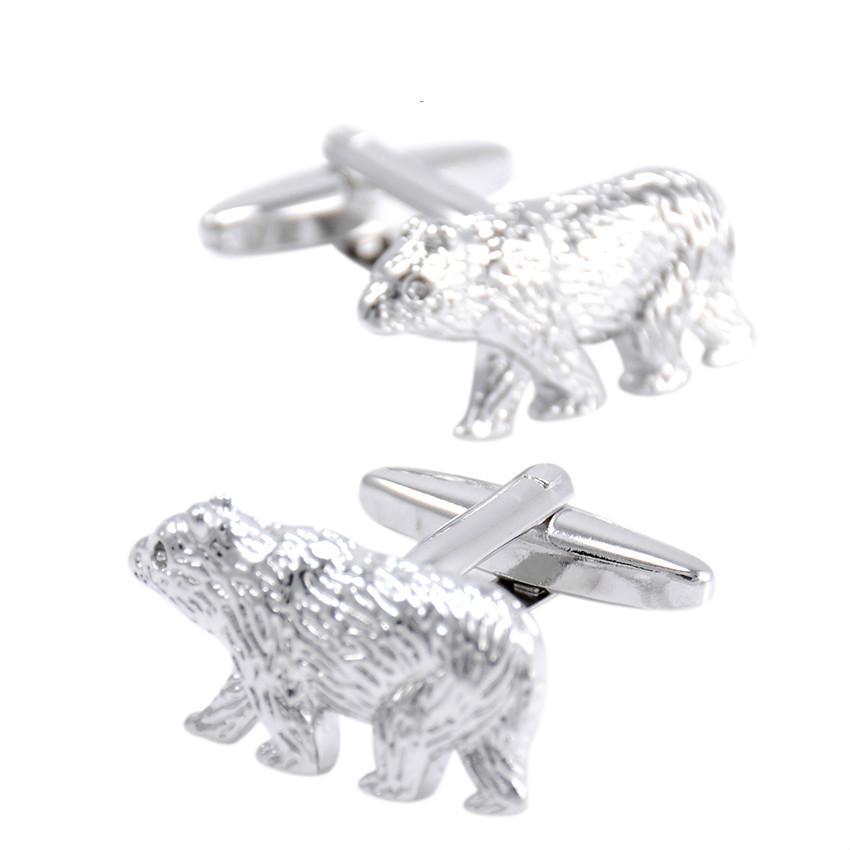 SAVOYSHI Белый медведь кнопки для мужчины с Коробка рубашки манжеты кнопки серебро Марка новинка животных запонки мужская мода ювелирные изделия