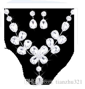 wonderful white diamond stone bride wedding jewelry set necklace earings hgjgjh