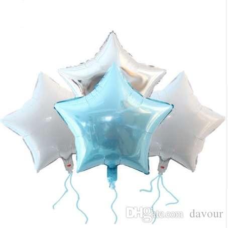 12 sztuk Baby Shower Globos 18 cal Blue White Sliver Star Helu Folia Balony Boys Birthday 1st Party Supplies Decor Pure Color