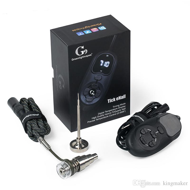 Горячий Смарт Портативный G9 Tick Enail Kit Электрический Dab Nail Pen Rig Wax Box 16 мм Катушка Нагревателя Титана ENail подходят стеклянные трубы водопровода