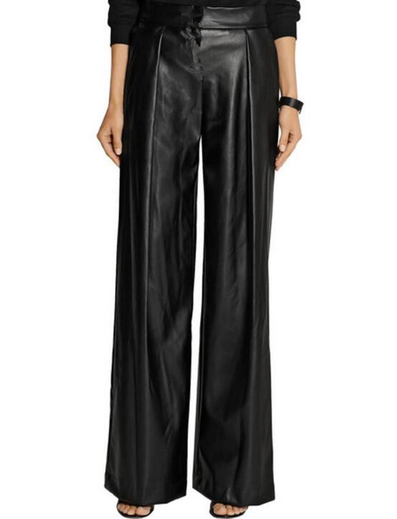 2017 Lato Plus Rozmiar 7XL Kobiety PU Skórzane Spodnie Legginsy Black Sexy Damskie Kobiet Luźne Spodnie