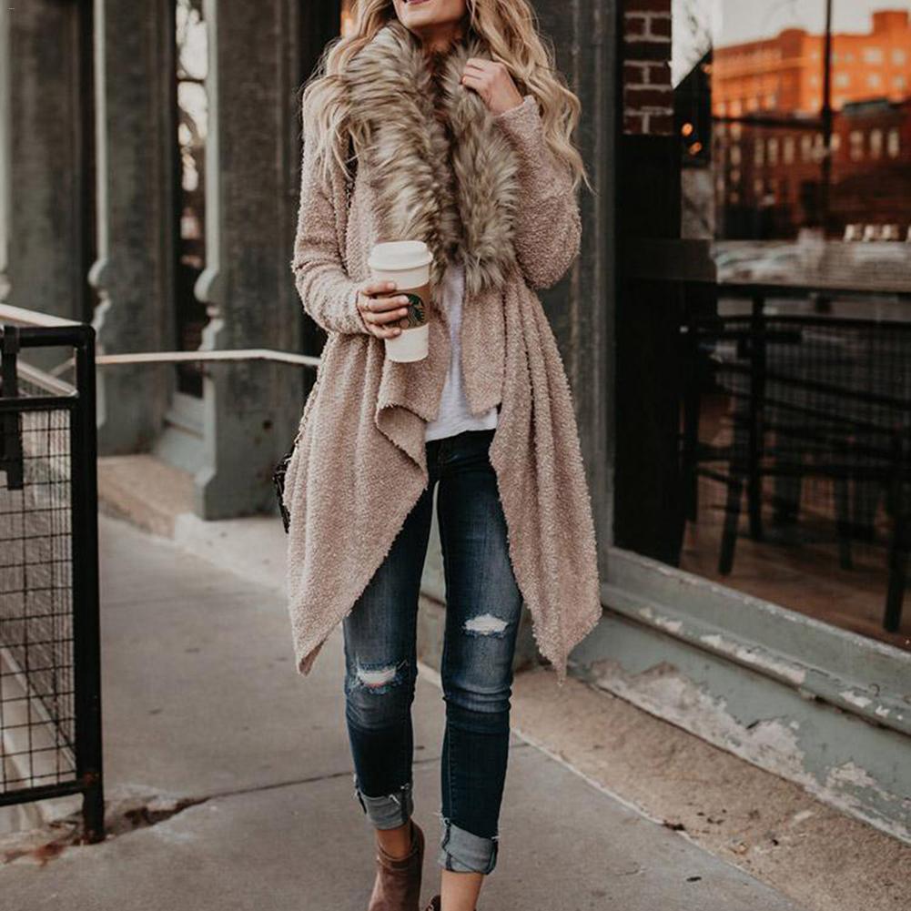 Sonbahar 2018 Moda Kazak Kadınlar Kürk Yaka Hırka Kadın Uzun Kollu Örme Kazak Düzensiz Rüzgarlık Sıcak Ceket Kaban
