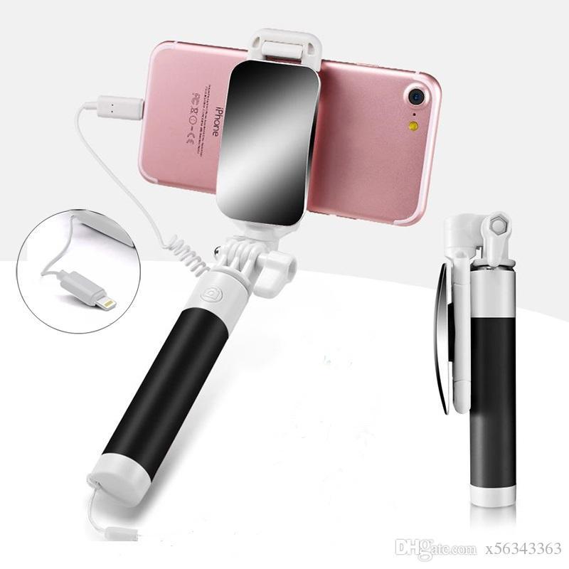 Controllo Mini Wire selfie bastone in acciaio inox a specchio pieghevole monopiede allungabile universale tenuto in mano portatile per Iphone Android 7 8 8plus x