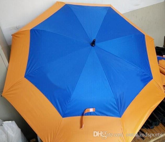 Soem-fördernder Regenschirm 2 Schicht sortierte Farbe Anti-UVA automatische 2 Schichten Golfregenschirm MOQ 100pcs angenommen