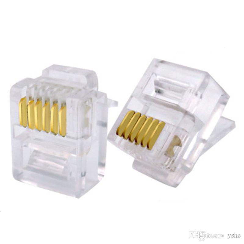 50 adet / grup RJ12 Bağlayıcı 6P6C Modüler Kristal Kafa Altın kaplama Fiş Kıvrım Ağ Telefon Şeffaf Konnektörler YS-235
