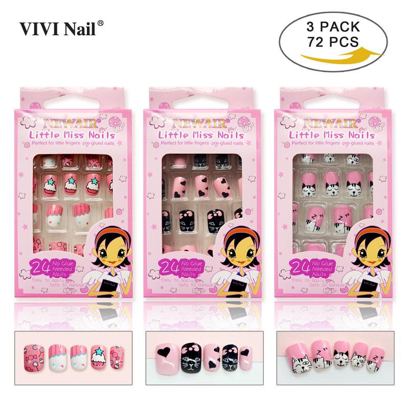 Press on Kids False Nails with Designs 72 PCS Cat Sweet Full Cover Fake Nail Tips Artificial ABS