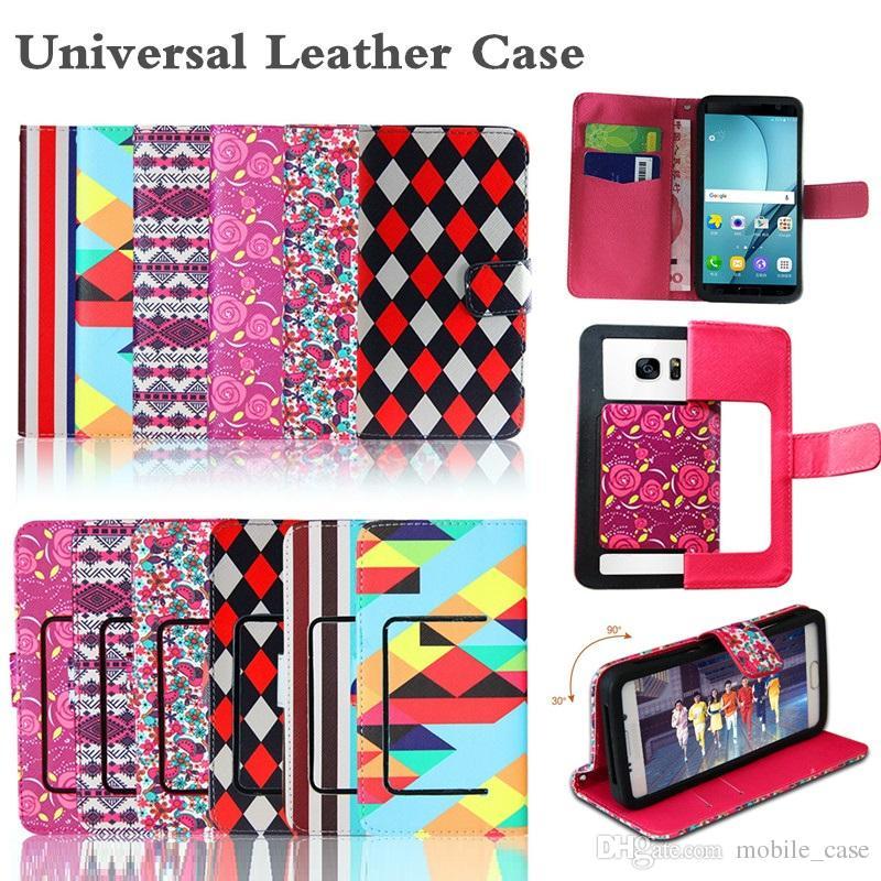 Custodia in pelle universale con motivo a fiori per PU per iPhone X 8 Plus 7 6 Plus Custodia per cellulare in silicone per Samsung S9 S8 da 3,5 a 5,7 pollici