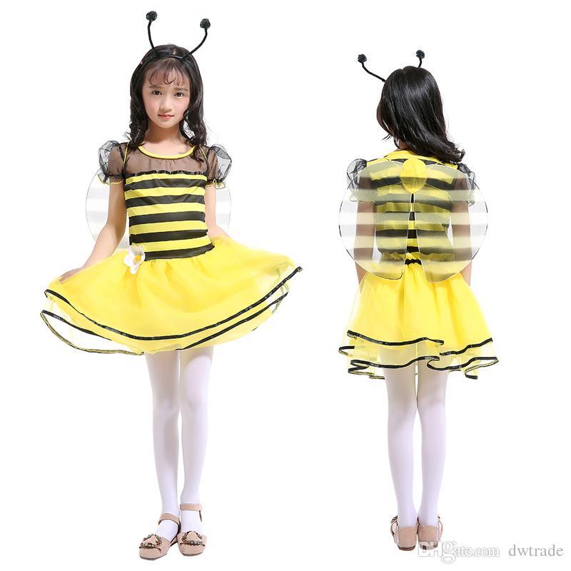 Nuovi vestiti Cosplay per bambini Le ragazze Yellow Bees 'Principessa Al ginocchio Abiti Bee Fairy Vestiti Costume di Halloween Abiti da spettacolo