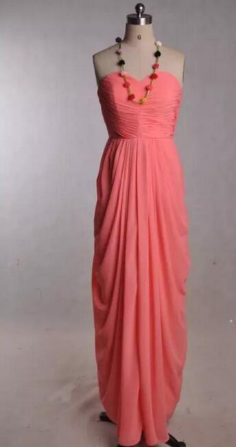 Pink Coral Brautjungfernkleider Liebsten bodenlangen Chiffon Rüschen Exquisite Brautjungfern Formal Party Kleider langes, billiges Kleid