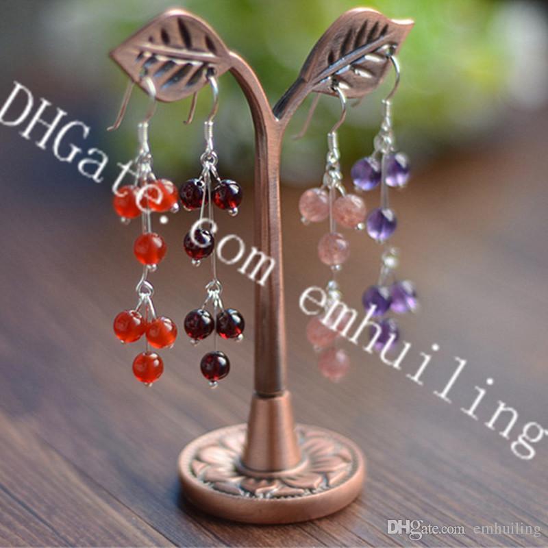 10 Pairs Handmade Natural Quartz Crystal Beads Drop Earrings Genuine Carnelian Strawberry Quartz Amethyst Garnet Gemstone Dangle Earrings