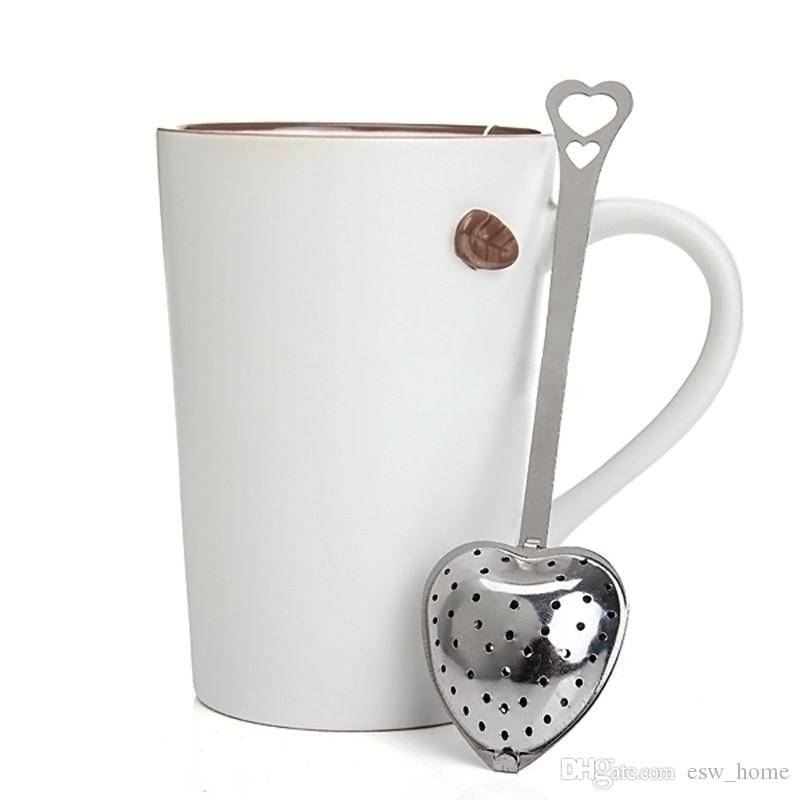 Ferramenta de cozinha Amor Estilo de Forma Do Coração de Aço Inoxidável Chá Infusor Colher De Chá Colher Filtro Colher de alta qualidade