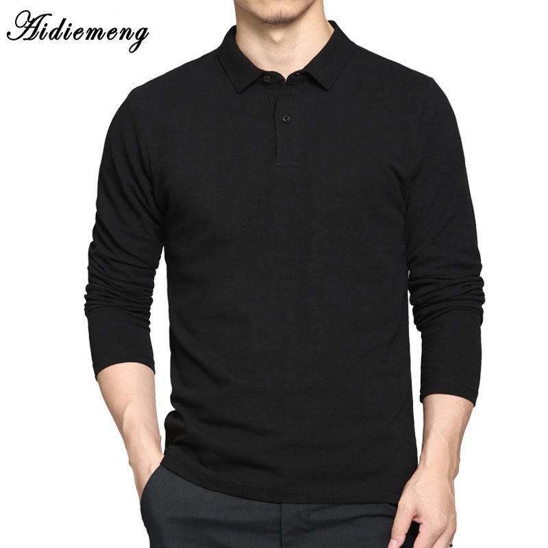 Polo Shirts 2018 Primavera Cotone traspirante Polo uomo manica lunga Casual Camiseta Masculinas Plus Size Polo Felpa