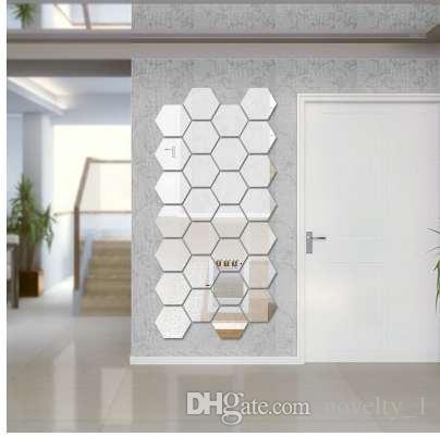 7 Peça Hexágono Acrílico Espelho Adesivos de Parede DIY Art Wall Decor Adesivos de Parede Home Decor Sala Espelhado Adesivos Decorativos