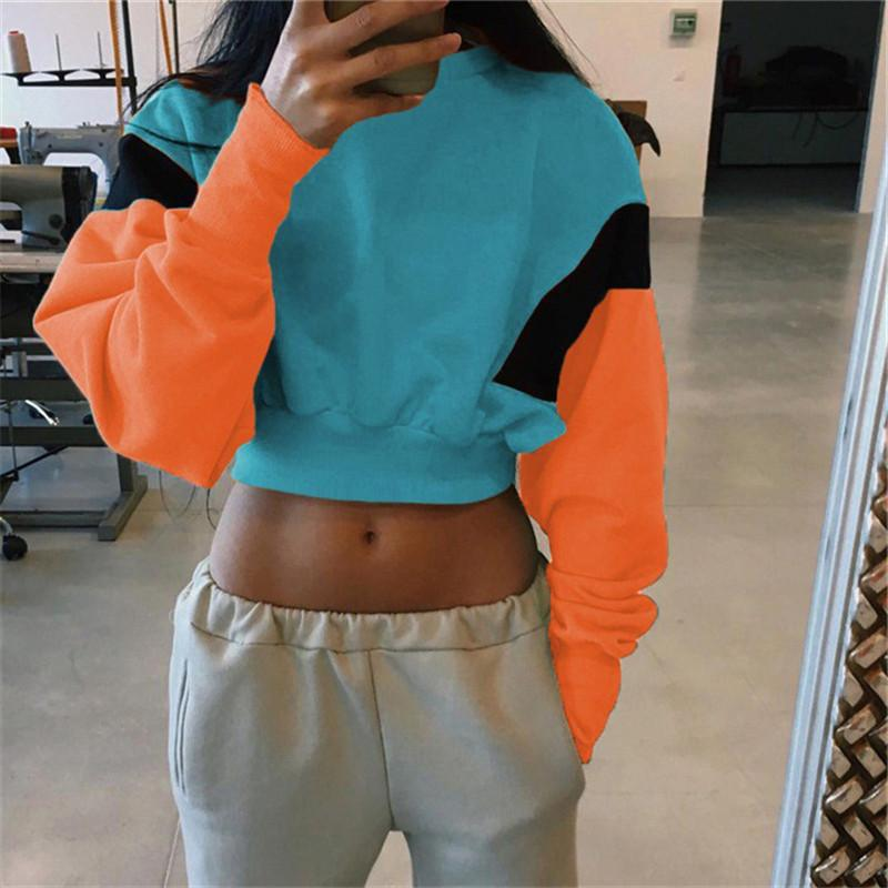 4631c04b Women Hoodies 2019 New Autumn Casual Long Sleeve Sweatshirt Loose O Neck  Crop Top Fashion Patchwork Pullovers Sudadera Mujer