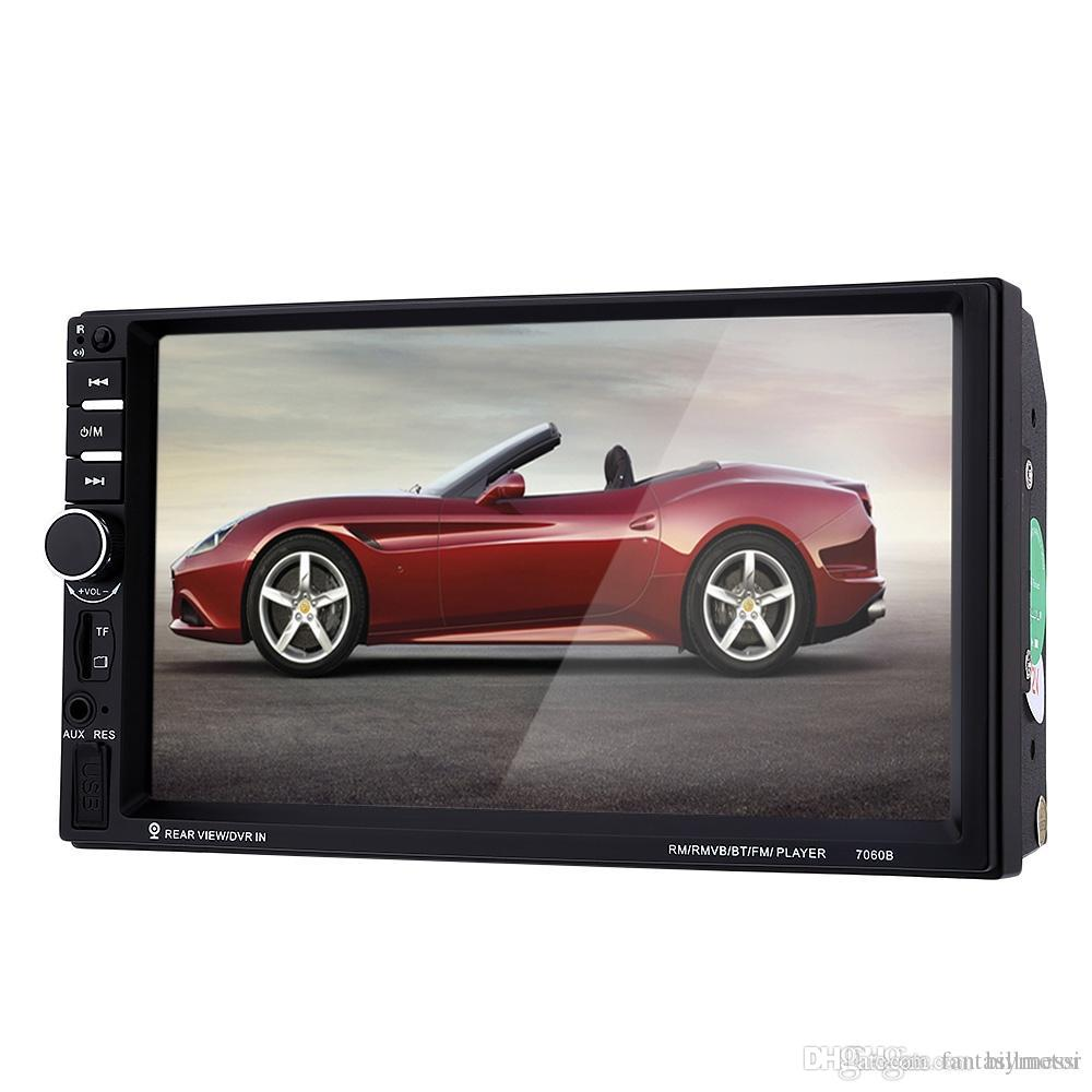 7060B 7 inch Car Audio Stereo MP5 Player Remote Control Rearview Camera FM USB MP3 MP5 1080P Car Radio Player Support CD Microphone +B