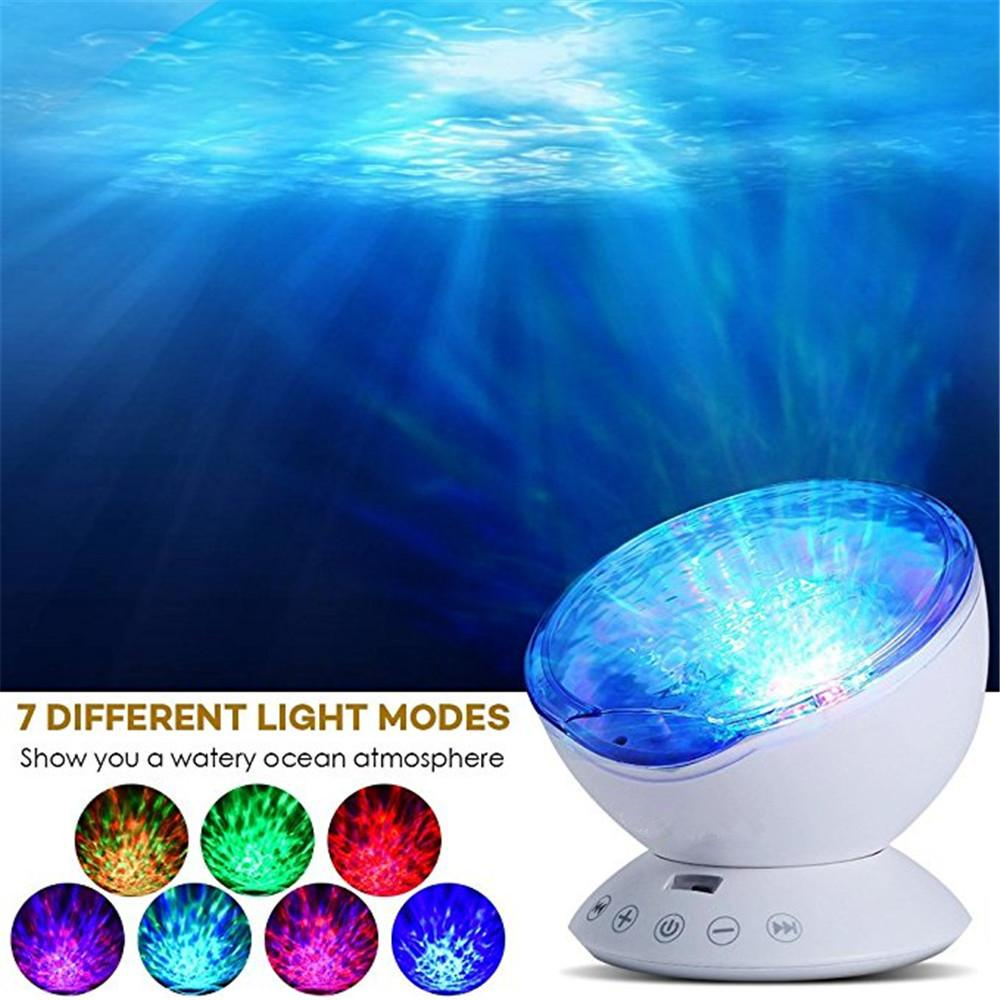 Ocean Wave Projector Night Light 12 LED Remote Control Undersea 7 Color Changing