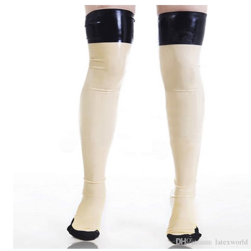 nuevas mujeres exóticas sexy femenina hecha a mano gótico Látex blanco empalmado color negro cekc delgado Medias largas Muslo botas Calcetines