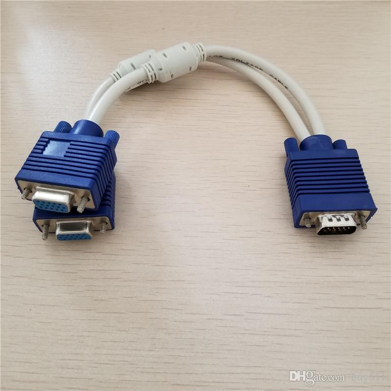 10 шт./лот VGA дистрибьютор 1 в 2 из Splitter экран передачи данных кабель-удлинитель для компьютера TV видео проектор дисплей 20 см