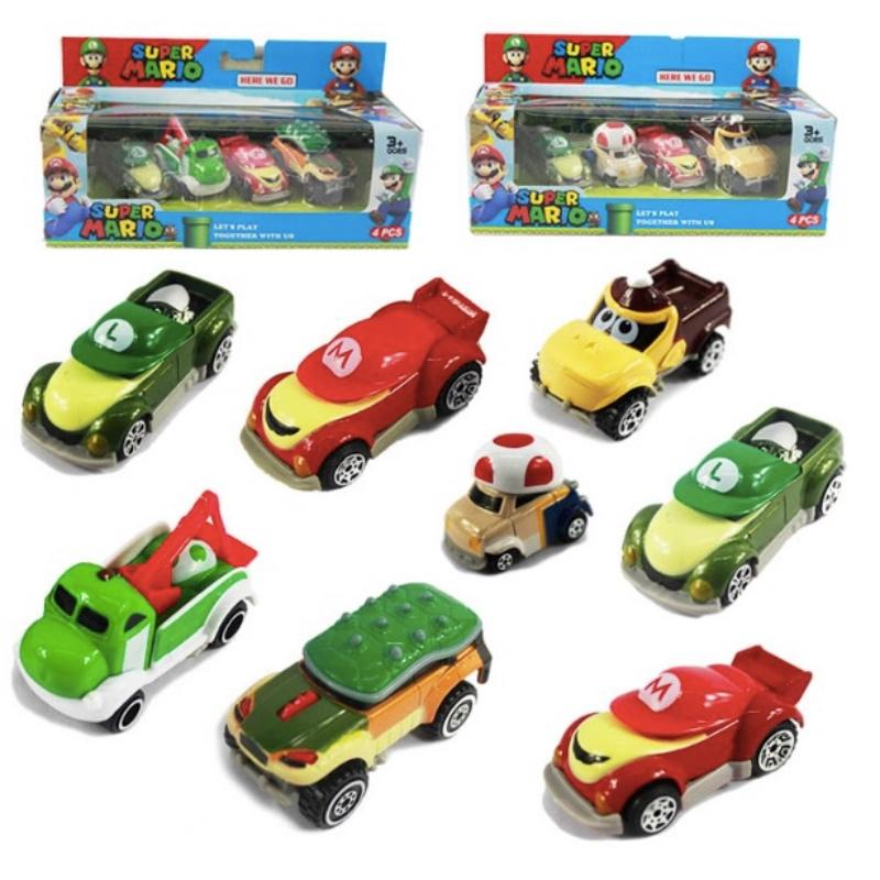 4pcs/set Super Mario Kart Metal Car Figure Toys With Box Gift For Children Free Shipping