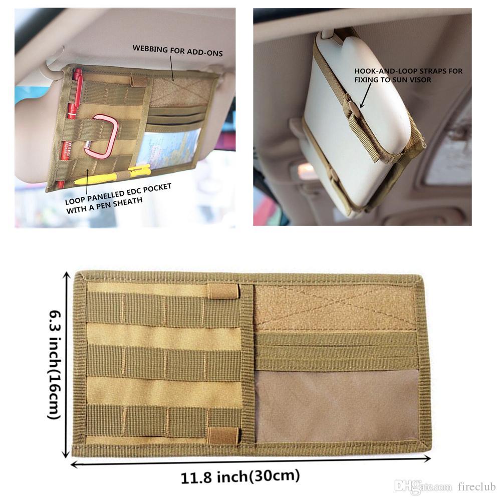 Tactical Multifunction Car Sun Visor Storage Bag Auto Glasses Ticket Documents Folder Mobile Phone Organizer