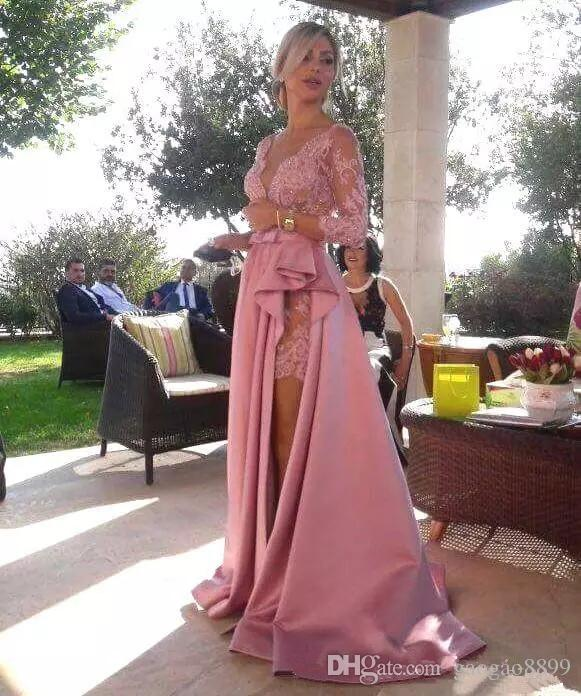 Deep V Neck Lace Applique 3/4 Long Sleeves Prom Dresses with Satin Overskirts Maid of Honor formal celebrity Evening Party Gowns