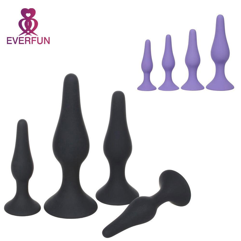 4 teile / satz silikon butt plug für anfänger erotische spielzeug anal plug erwachsene produkte geschlecht spielt für männer frau prostatamassager d18110505