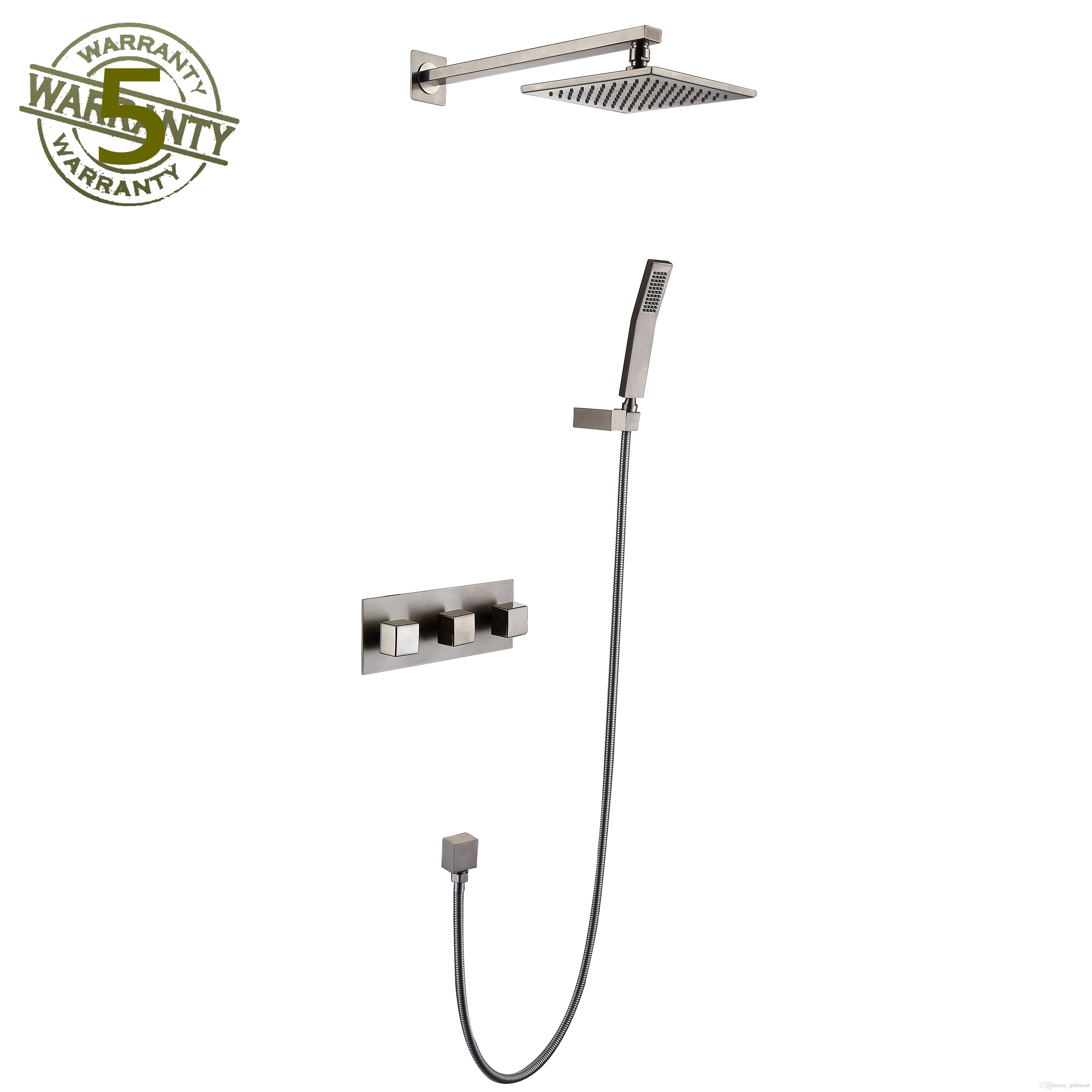 2019 Shower Faucet System Nickel Brushed Finish Mixer 8 Showerhead Rainfall With High Pressure Combo Set Wall Mounted Three Handles From Guilincat