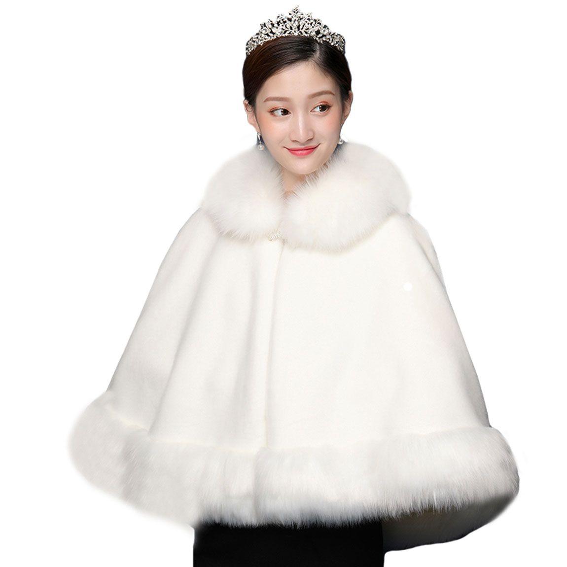 Big Bridal Cloak Women's Wraps Wraps Faux Fur Wrap Wedding Capes Per le spose Partito serale Stole di pelliccia Scialle nuziale Bolero