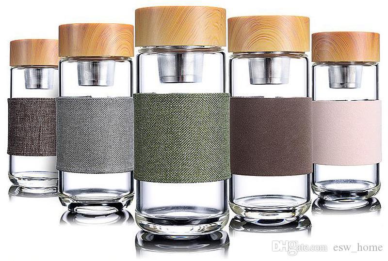 350мл стеклянные бутылки с водой термостойкие офисные подарки автомобильная чашка с нержавеющей стали чай Infuser чашки