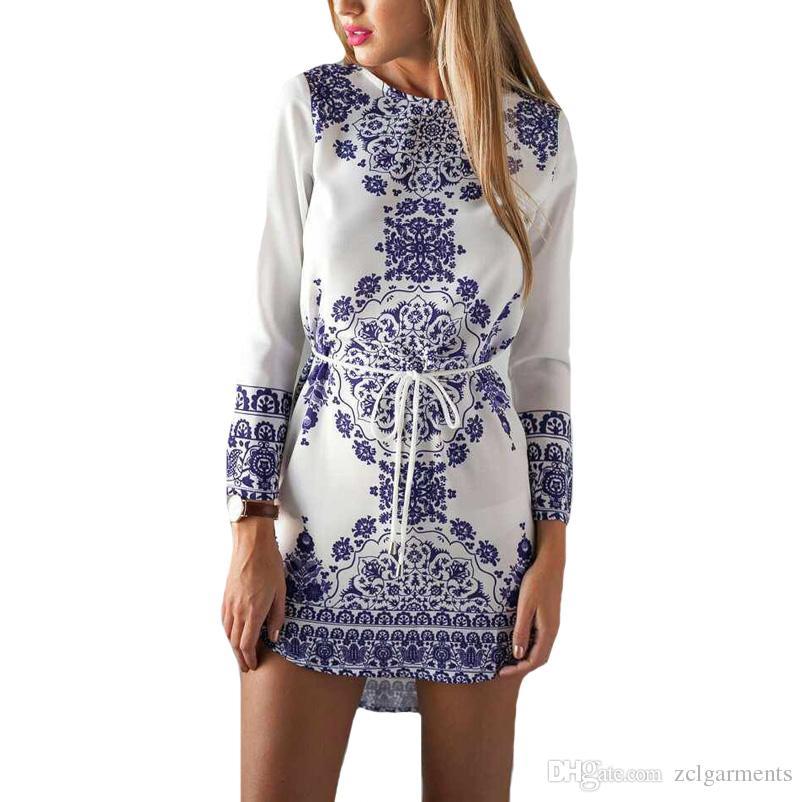Mavi ve Beyaz Porselen Çiçek Baskılı Elbiseler Kadınlar için Günlük Elbiseler Yuvarlak Yaka Uzun Kollu Mini Elbise