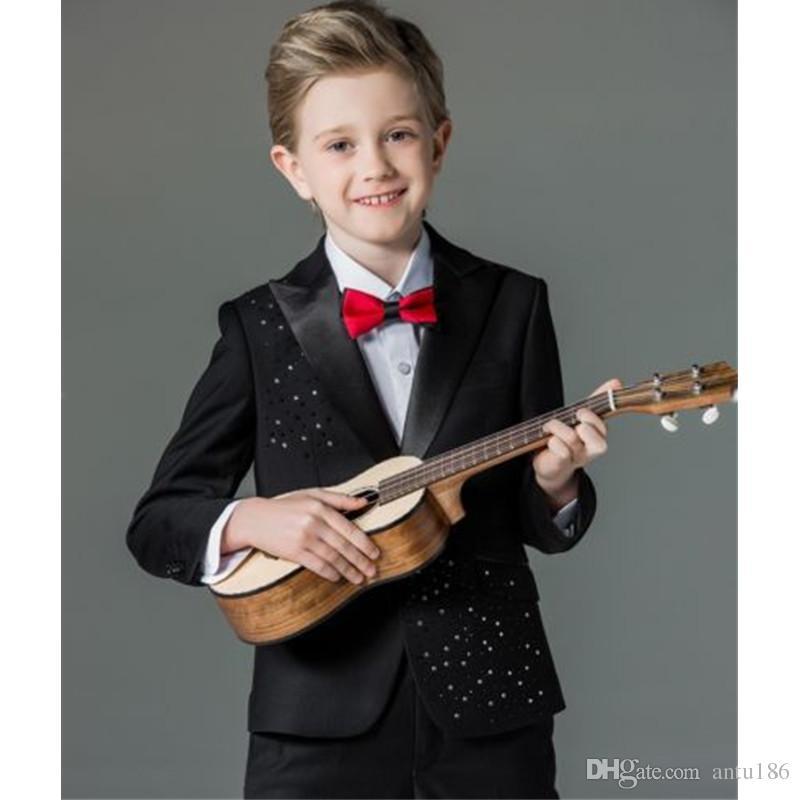 Özel siyah yüksek kaliteli erkek takım elbise üç parçalı takım elbise (ceket + pantolon + yelek) çocuk dans parti elbise elbise