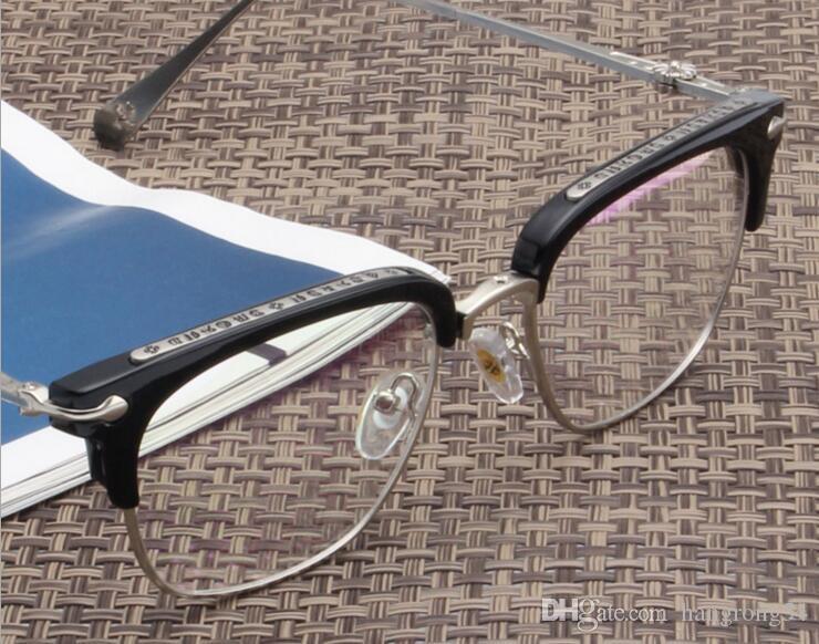 2018 Gafas marco TR90 moda retro retro, luz plana espejo, medio marco con marco de gafas miope.