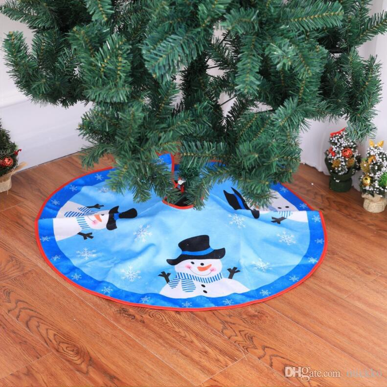 80 cm 2 Stil Schneemann Weihnachtsbaum Rock Red Edge Cartoon Schneemann Muster Weihnachtsbaum Schürze Weihnachtsgeschenk