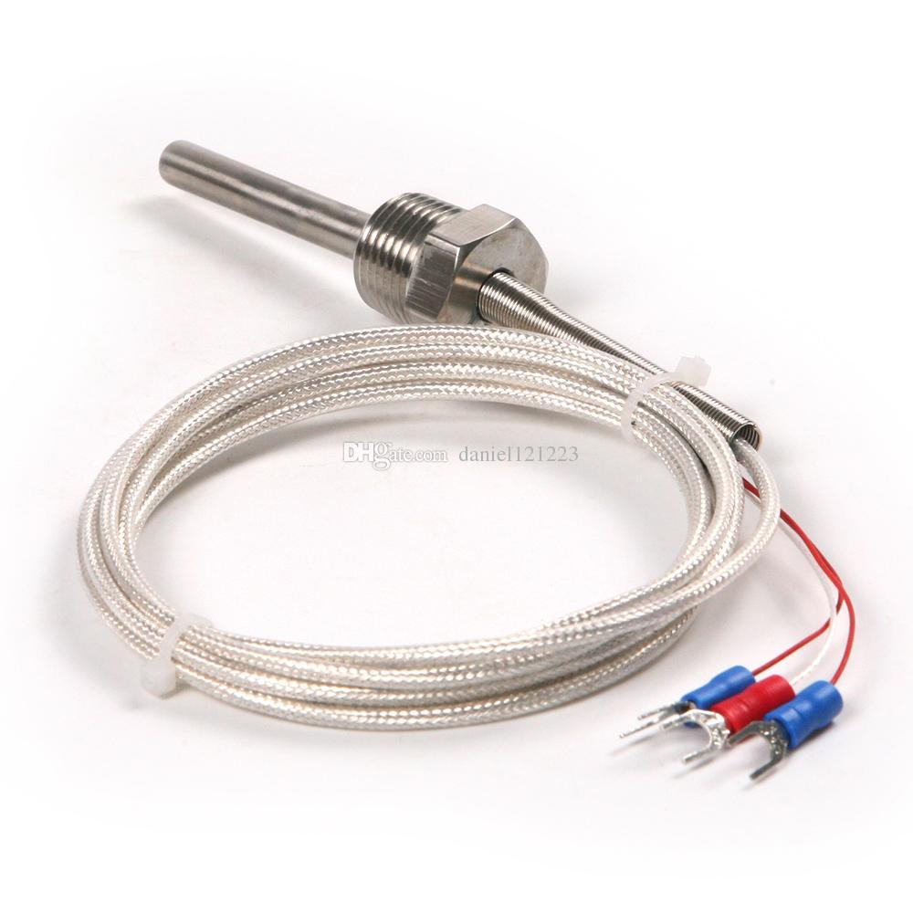 1 PCS Waterproof RTD Pt100 Ohm Probe Sensor L 50mm PT NPT 1/2'' Thread with Lead Wire