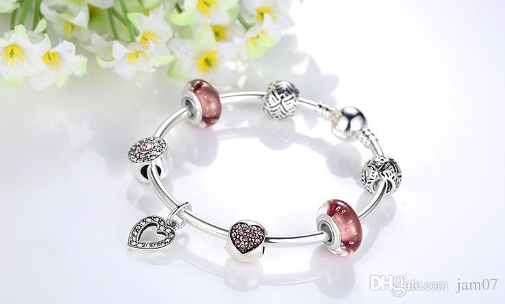 LOOK! Hot sell Bring luck bracelet Silver Color Heart Pendant Bracelets with European Beads Girl Bracelet Jewelry