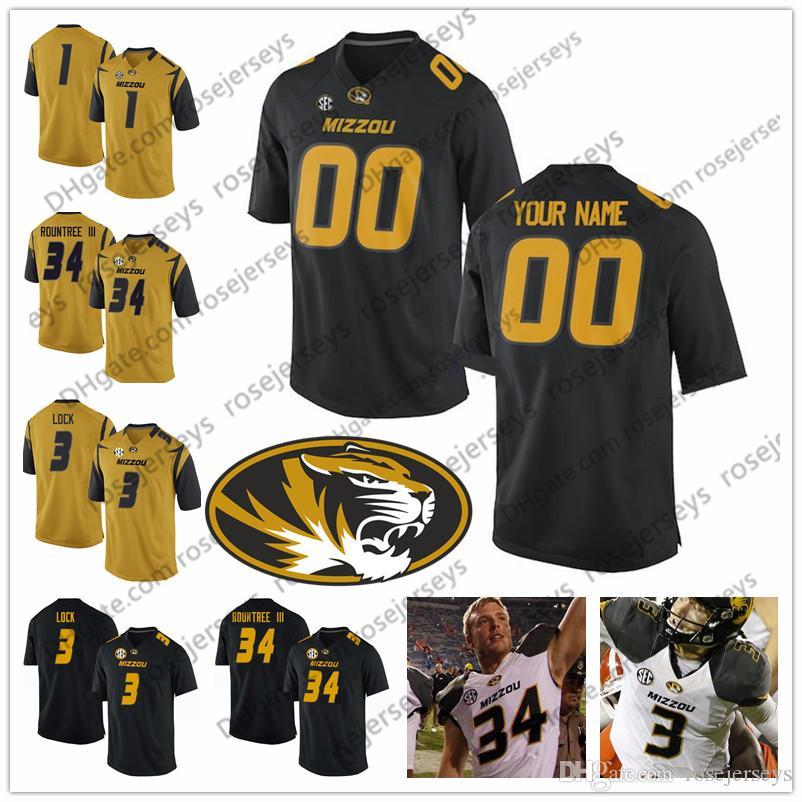 Custom Mizzou Missouri Tigers Football Любое имя Количество Черное белое золото # 3 Шон Робинсон 7 Келли Брайант 34 Ларри Рантри III Джерси 4XL