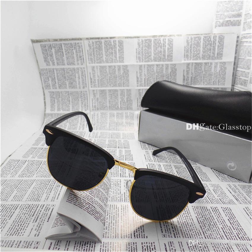 High Quality Men Women Sunglasses UV400 Mixed Vintage Sun Glasses 10 Color Brand Designer Circle Semi Rimless Eyewear With Box Case