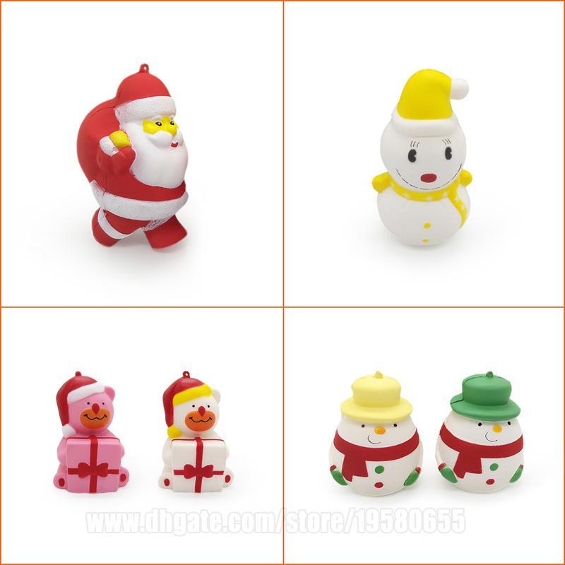 Xmas Squishy Christmas Squishies Santa Claus Father Snowman Slow Rising Phone Pendant DHL Free Shipping SQU085