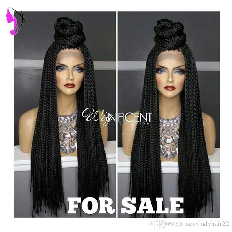 Long Braided Lace Front Wigs For Black Women Natural Synthetic Braiding Hair Wig With Baby Hair African American Hairstyle Curly Lace Front Wigs Lace Wig From Sexyladyhair22 46 77 Dhgate Com