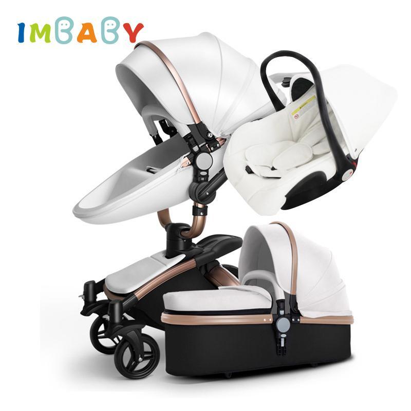 IMBABY عربة طفل 3 في 1 مقعد الطفل السرير عربة مع سيارة نقل كبيرة عجلة للحصول على الثلج لل0-36 شهور الاطفال