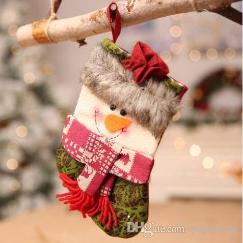 Chaude 2019 En Gros livraison gratuite NOUVELLES années Noël Chaussettes Cadeau Sac Décoration Santa Bonhomme De Neige De Noël Arbre Pendentif