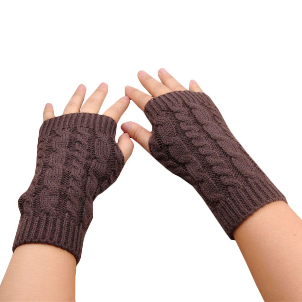 النساء قفازات أنيقة اليد أدفأ قفازات الشتاء النساء ذراع الكروشيه الحياكة فو الصوف القفاز الدافئة أصابع فام