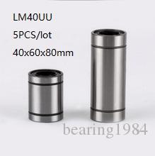 5 unids / lote LM40UU 40mm rodamientos lineales de bolas buje deslizante lineal de movimiento lineal rodamientos 3d piezas de la impresora cnc router 40x60x80mm