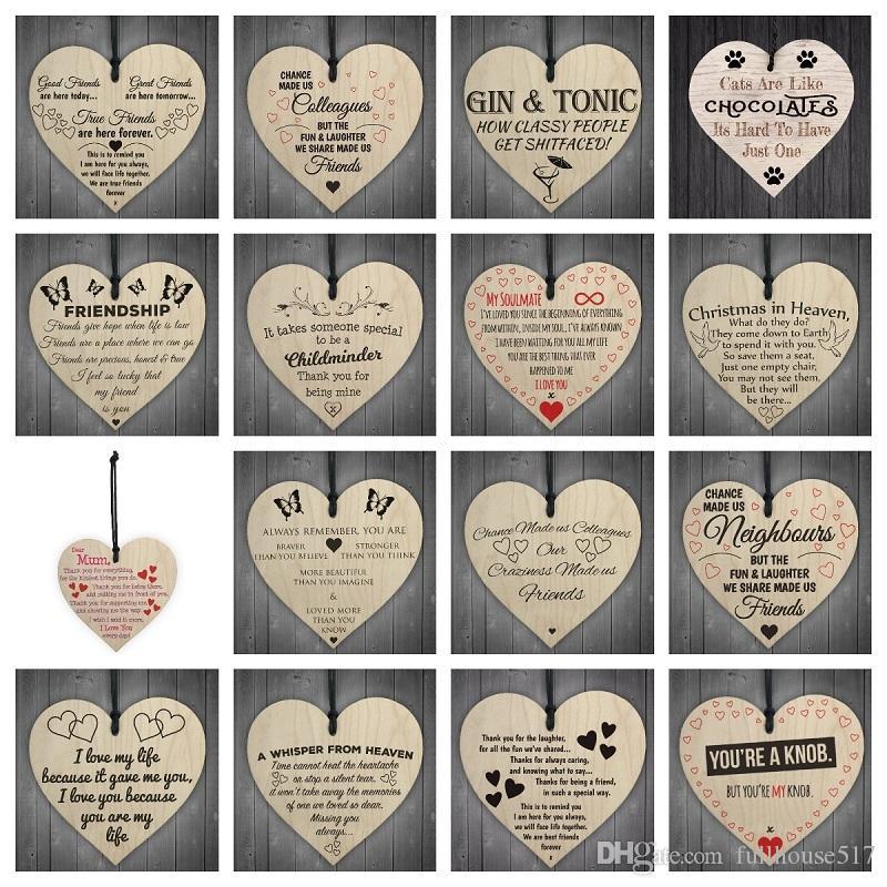 Wooden Heart Shaped Hanging Geschenk Plaque-Anhänger Familie, Freundschaft, Liebe-Zeichen Wein Schlagwörter Weihnachtsbaum Kleine hängende Herzen Dekor