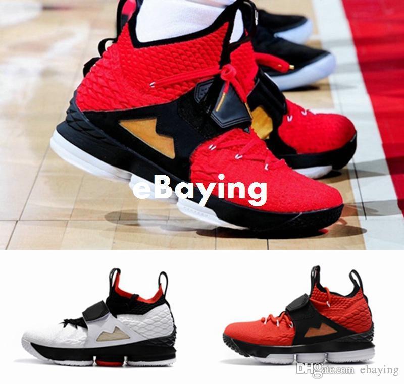 2018 Yeni Kral 15 J 15 s Kırmızı Elmas Turf AZG Zoom Nesil Erkek Basketbol Ayakkabı Siyah Beyaz Alternatif Baskı Sneakers Boyutu ABD 7-12