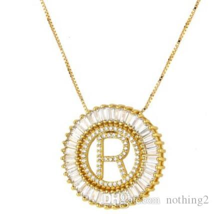 jewelry necklace for women men zircon 26 letters pendant circle gold color ot fashion free of shipping